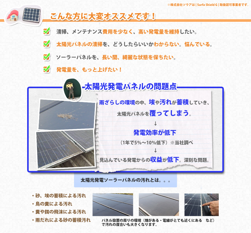 太陽光パネルの清掃・メンテナンス代を減らし、発電量をアップする。