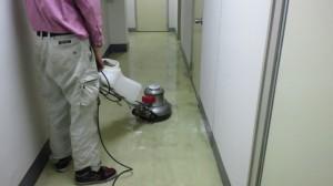 大阪市中央区 オフィスビル 廊下 剥離洗浄02