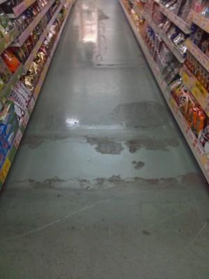 大阪 高石市スーパー定期清掃 床剥離洗浄01